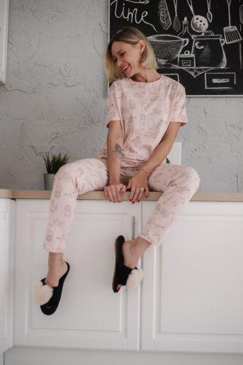 Женская пижама ЖП 072 (T) (Кошки на розовом) - Злата