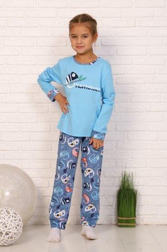 Пижама Хамелеон дл.рукав (N) (Голубой) - Злата
