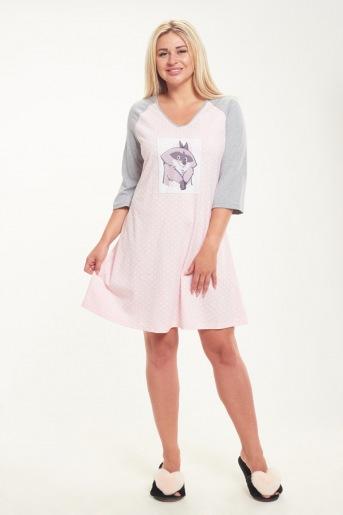 Женская сорочка ЖС 018 (T) (Горох на розовом _ серый) - Злата