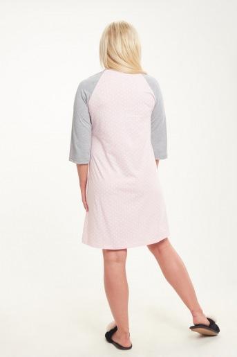 Женская сорочка ЖС 018 (T) (Горох на розовом _ серый) (Фото 2)