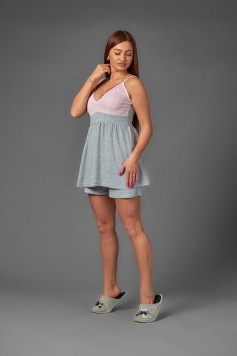 Женская пижама ЖП 038 (T) (Серый_горох на розовом) - Злата