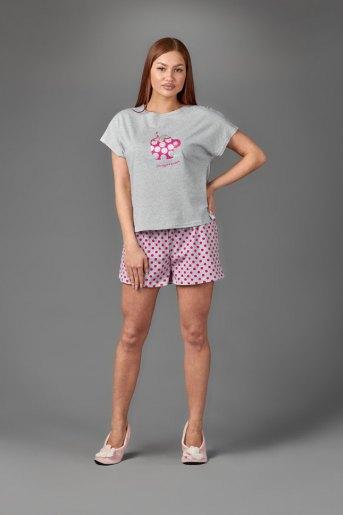 Женская пижама ЖП 022 (T) (Серый_розовый горох) - Злата