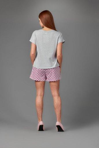 Женская пижама ЖП 022 (T) (Серый_розовый горох) (Фото 2)