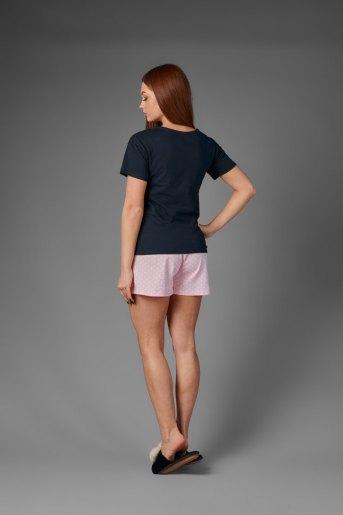 Женская пижама ЖП 034/1 (T) (Темно-синий_горох на розовом) (Фото 2)