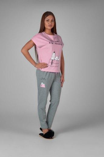 Женская пижама ЖП 010/5 (T) (Розовый_серый) (Фото 2)