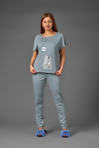 Женская пижама ЖП 010/1 (T) (Серый с горохом) - Злата