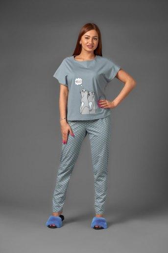 Женская пижама ЖП 010/1 (T) (Серый с горохом) (Фото 2)