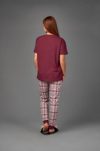 Женская пижама ЖП 039 (T) (Бордовый_клетка) (Фото 2)