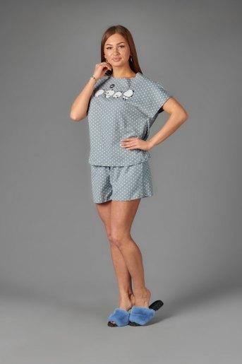 Женская пижама ЖП 022/4 (T) (Горох на сером) - Злата