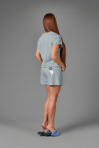 Женская пижама ЖП 022/4 (T) (Горох на сером) (Фото 2)