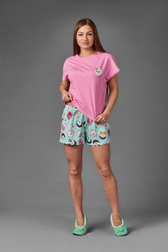 Женская пижама ЖП 022 (T) (Розовый_принт пончики) - Злата