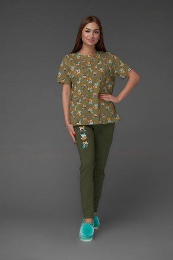 Женская пижама ЖП 024/5 (T) (Совята_хаки) - Злата