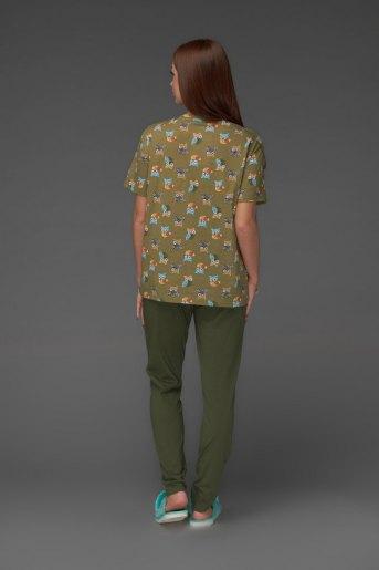 Женская пижама ЖП 024/5 (T) (Совята_хаки) (Фото 2)