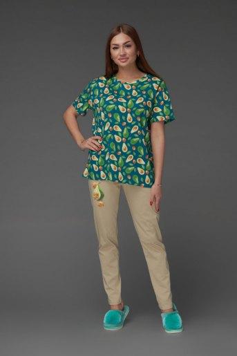 Женская пижама ЖП 024/5 (T) (Бежевый_авокадо) - Злата