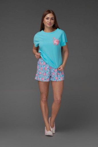 Женская пижама ЖП 022 (T) (Голубой_принт единороги) - Злата