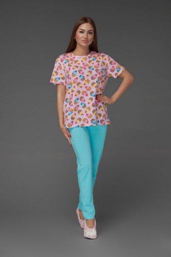 Женская пижама ЖП 024/7 (T) (Принт пироженки_голубой) - Злата