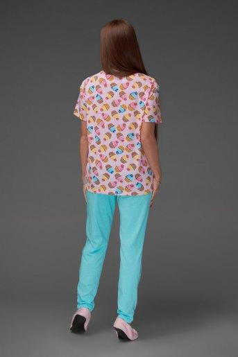 Женская пижама ЖП 024/7 (T) (Принт пироженки_голубой) (Фото 2)
