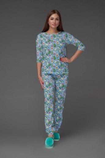 Женская пижама ЖП 044 (T) (Принт авокадо на голубом) - Злата
