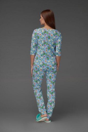 Женская пижама ЖП 044 (T) (Принт авокадо на голубом) (Фото 2)