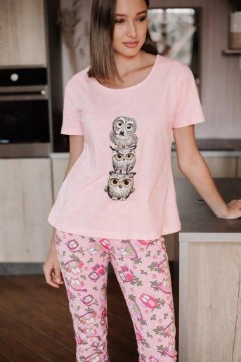 Женская пижама ЖП 045 (T) (Розовый _ принт три совы) - Злата