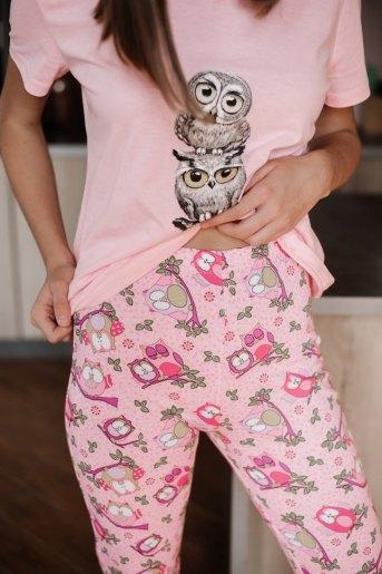 Женская пижама ЖП 045 (T) (Розовый _ принт три совы) (Фото 2)