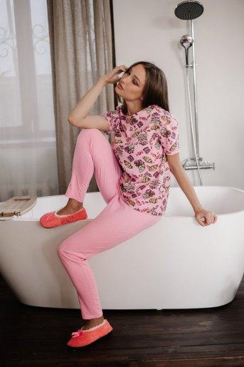 Женская пижама ЖП 024/8 (T) (Розовый _ принт круассаны) - Злата