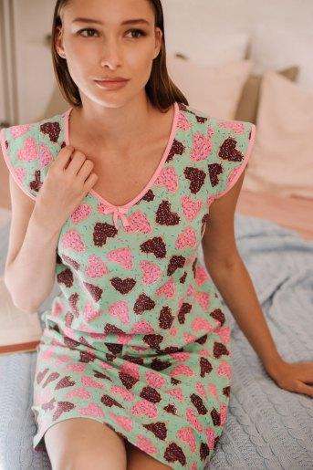 Женская сорочка ЖС 016 (T) (Сердечки на ментоловом) - Злата