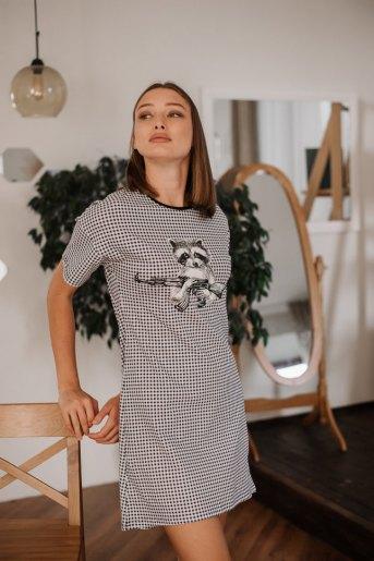 Женская сорочка ЖС 028/2 (T) (Клетка, енот с ружьем) (Фото 2)
