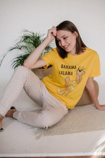 Женская пижама ЖП 039/1 (T) (Желтый _ горох на бежевом) - Злата