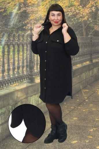 Платье-рубашка 19018 (N) (Черный) - Злата