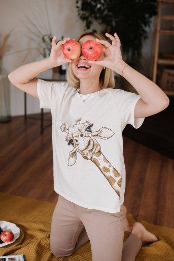 Женская пижама ЖП 024/6 (T) (Молочный_какао (жираф)) - Злата