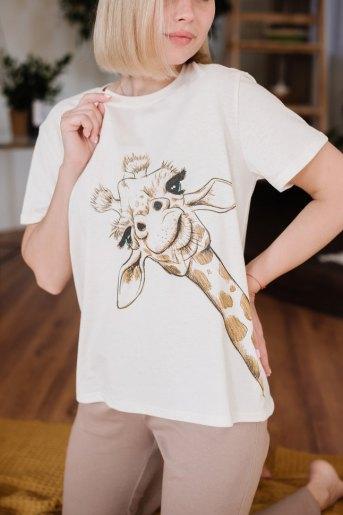 Женская пижама ЖП 024/6 (T) (Молочный_какао (жираф)) (Фото 2)