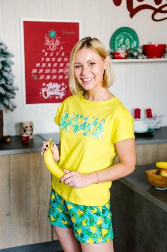 Женская пижама ЖП 022 (T) (Желтый_принт бананы) - Злата