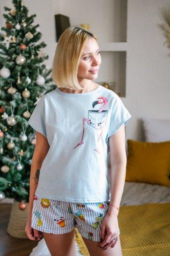 Женская пижама ЖП 022 (T) (Голубой_полоса с принтом) - Злата
