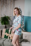 Женская пижама ЖП 049 (T) (Мятный_принт пончики) (Фото 1)