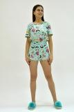 Женская пижама ЖП 049 (T) (Мятный_принт пончики) (Фото 5)