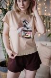 Женская пижама ЖП 022 (T) (Бежевый_шоколадный) (Фото 1)