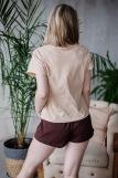 Женская пижама ЖП 022 (T) (Бежевый_шоколадный) (Фото 3)