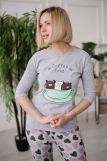 Женская пижама ЖП 057 (T) (Серый_сердечки на мятном) (Фото 1)
