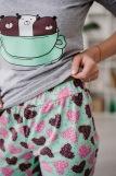 Женская пижама ЖП 057 (T) (Серый_сердечки на мятном) (Фото 3)