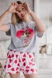 Женская пижама ЖП 022 (T) (Серый_леденцы-сердечки) (Фото 1)