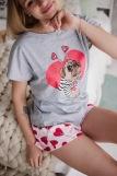 Женская пижама ЖП 022 (T) (Серый_леденцы-сердечки) (Фото 2)