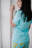 Женская пижама ЖП 058 (T) (Голубой_бананы с горохом) (Фото 3)