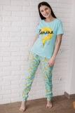 Женская пижама ЖП 058 (T) (Голубой_бананы с горохом) (Фото 4)