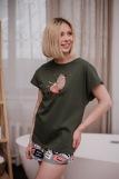 Женская пижама ЖП 022 (T) (Хаки_принт буквы) (Фото 1)