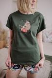 Женская пижама ЖП 022 (T) (Хаки_принт буквы) (Фото 2)