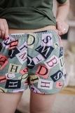 Женская пижама ЖП 022 (T) (Хаки_принт буквы) (Фото 3)