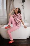 Женская пижама ЖП 024/8 (T) (Розовый _ принт круассаны) (Фото 1)