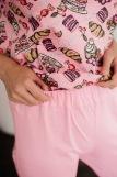 Женская пижама ЖП 024/8 (T) (Розовый _ принт круассаны) (Фото 2)